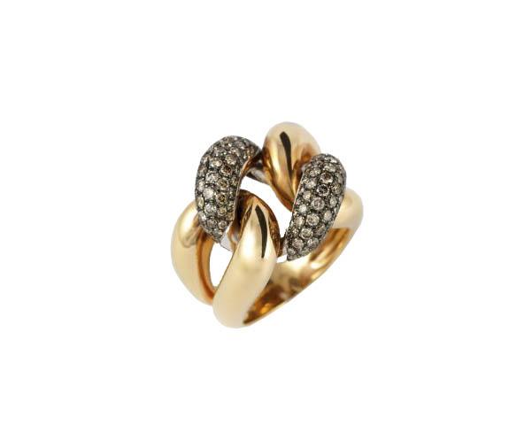Sortija oro rosa 18 Ktes con diamantes Jose Luis Joyero Malaga