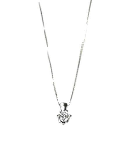 Colgante oro blanco con diamante y cadena Jose Luis Joyero Malaga