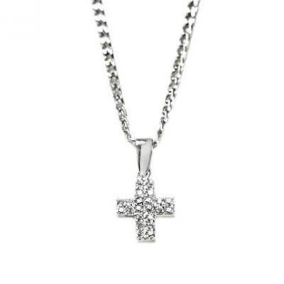 Cruz oro blanco con diamantes y cadena Jose Luis Joyero Malaga