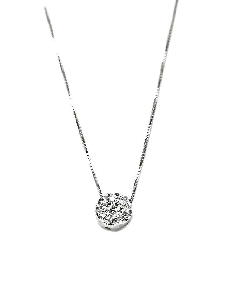 Colgante oro blanco con diamantes y cadena Jose Luis Joyero Malaga