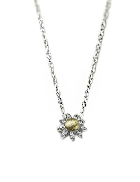Colgante oro bicolor con diamantes y cadena Jose Luis Joyero Malaga