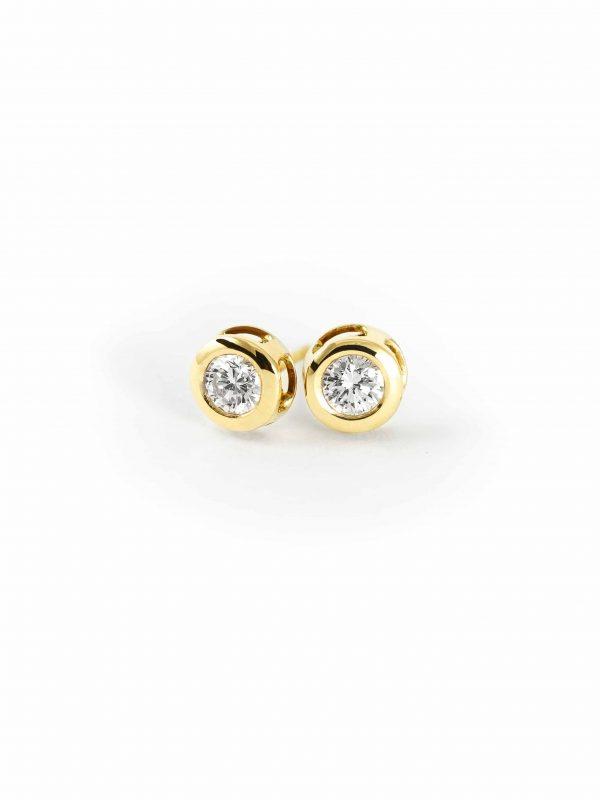 Pendientes oro chaton con diamantes 1 Joyeria Jose Luis Joyero Malaga