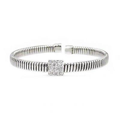 Pulsera oro blanco 18 Ktes con diamantes Jose Luis Joyero Malaga