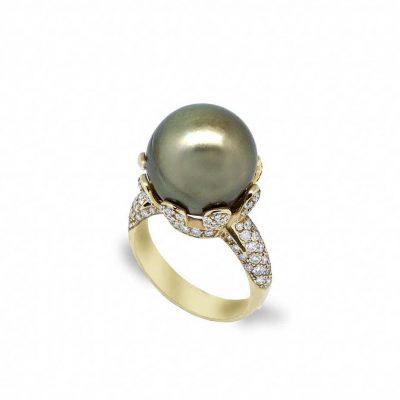 Sortija oro rosa 18 Ktes con diamantes y perla brown Jose Luis Joyero Malaga