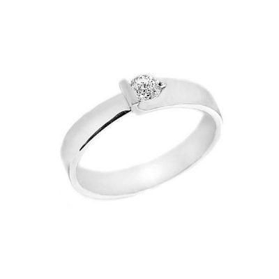 Solitario oro blanco y diamantes Joyeria Jose Luis Joyero Malaga
