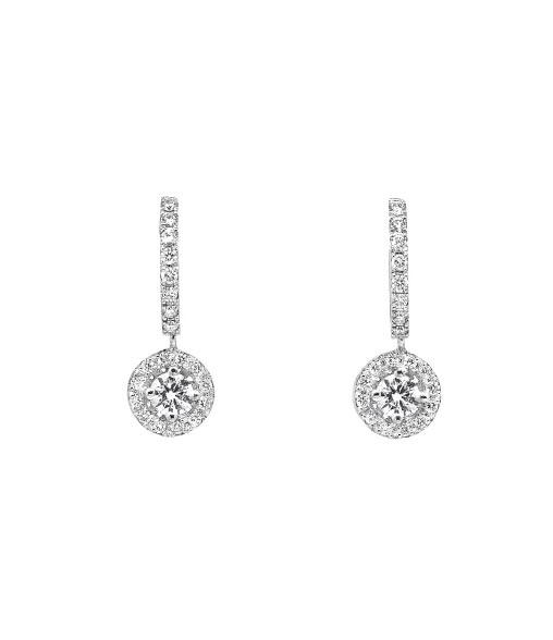 Pendientes oro blanco roseta novia con diamantes Joyeria Jose Luis Joyero Malaga